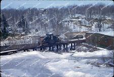 ORIG SLIDE Maine Central GE 44 ton 17 on trestle Cobbossee Branch RARE Original
