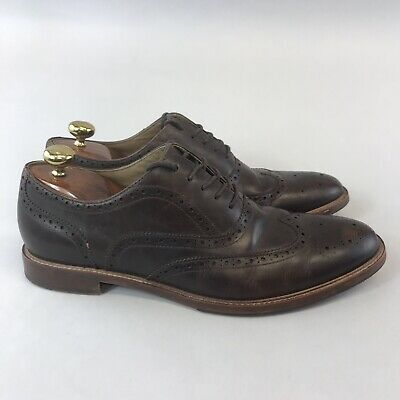 aldo size uk11 brown leather smart casual brogues lace up