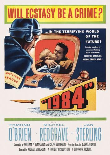 Vintage 1950s Movie Poster 1984 GEORGE ORWELL SciFi Retro Atomic Big Brother NWO
