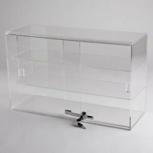 Horizontal Acrylic Display Case Countertop Locking Jewelry