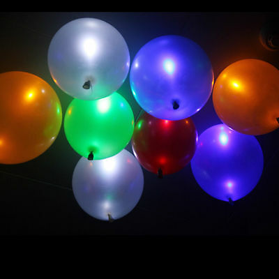 50 Pack LED Hellium Air Mixed Colors Balloons Wedding Decoration Party Light Up'