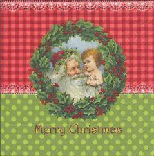 2 Serviettes en papier Père Noël Couronne de Houx Paper Napkins Christmas Eve