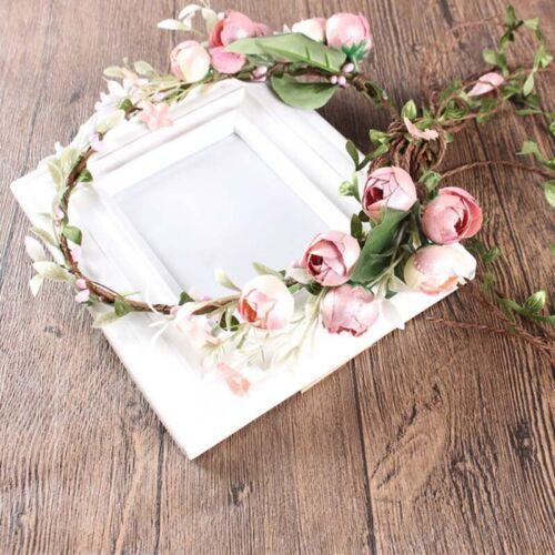 Damen Boho Haarband Blumen Kranz Geflochten Stirnband Party Hochzeit Kopfschmuck