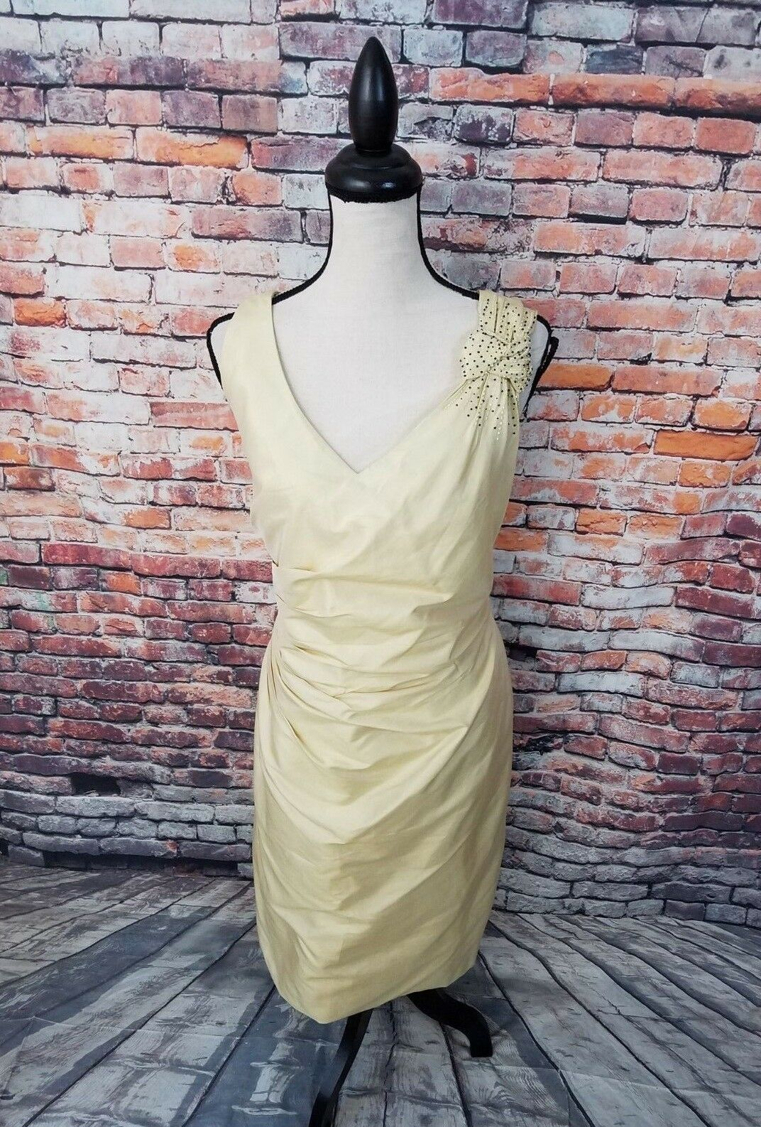 Marisa Baratelli Sleeveless Gelb THAI SILK Bead Cocktail Party Formal Dress 16