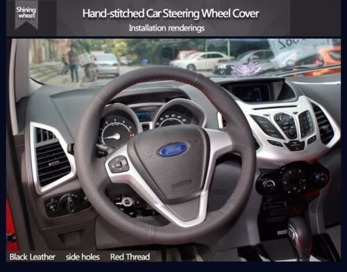 Black Leather Steering Wheel Cover for Ford Fiesta 2008-2013 Ecosport 2013-2016
