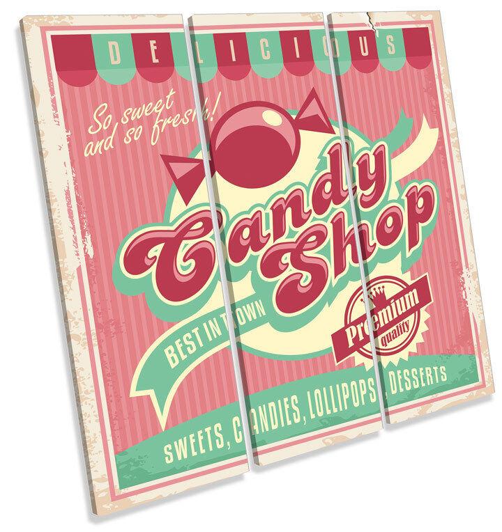 Candy Sweet Shop Retro Kitchen TREBLE CANVAS WALL ART Square Print Picture