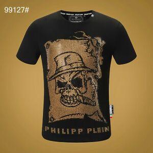 PHILIPP-PLEIN-Black-Skull-Beading-Men-Casual-T-shirt-P99127-Size-M-3XL