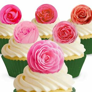 Cakeshop 12 X Essbare Rosa Rosen Blumen Kuchen Dekoration Ebay