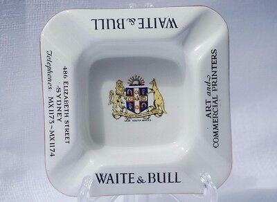 Vintage Shelley Advertising Ashtray Waite & Bull Printers Sydney Australiana