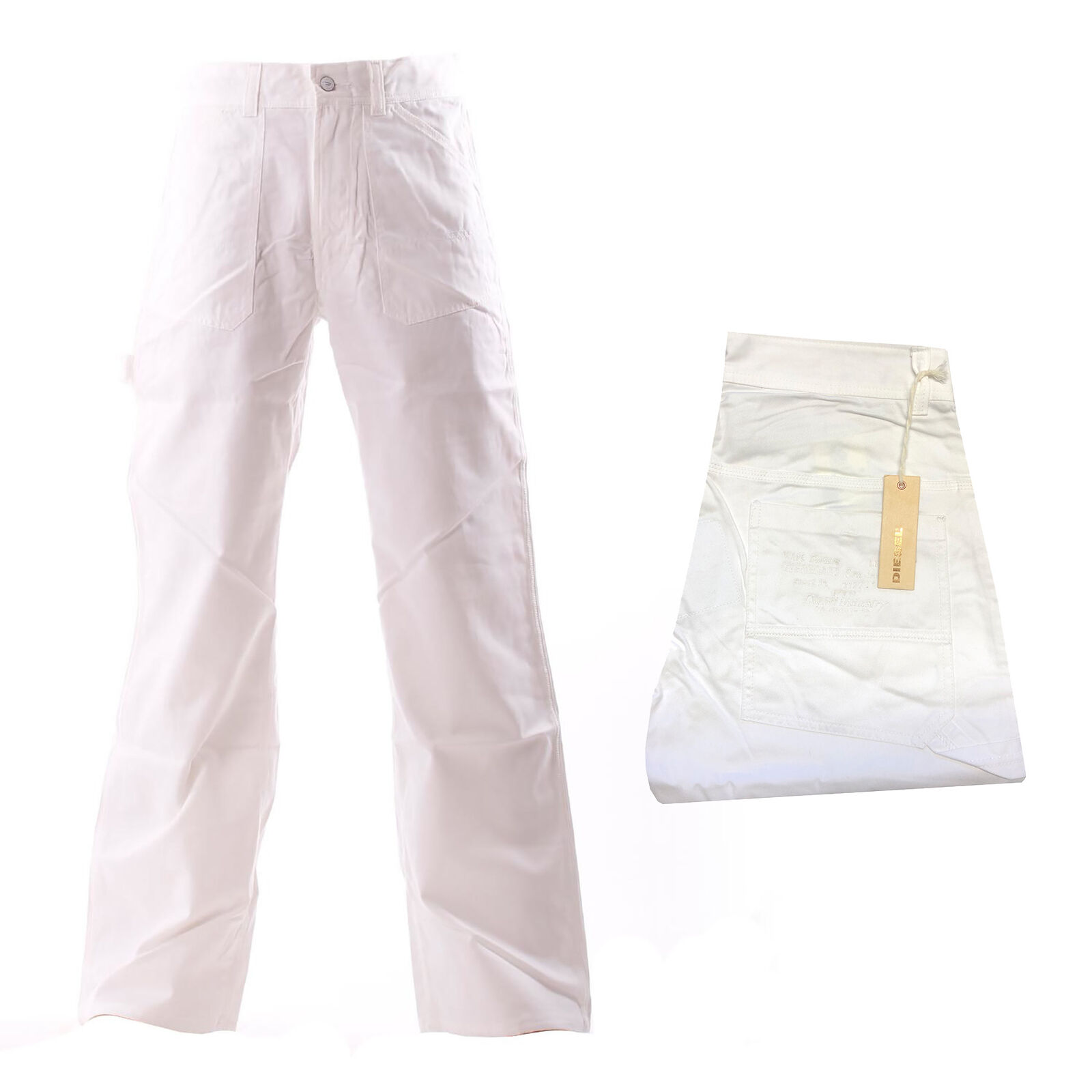 Diesel Herren Jeans Hose Weit geschnitten Weiß Gr. W28, W30 Länge  L34 NEU   Verwendet in der Haltbarkeit    Meistverkaufte weltweit    Verrückter Preis    Billig