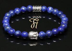 Lapislazuli-blau-glaenzend-Armband-Bracelet-Perlenarmband-Buddhakopf-silber-8mm