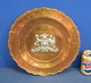 Vintage-Republica-de-Chile-Hand-Hammered-Copper-and-Silver-Charger-Plate-Tray
