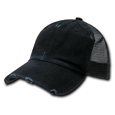 (20)Black Vintage Distressed Mesh Trucker Baseball Cap Caps