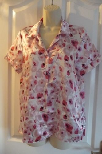 NEW PINK//WHITE FLORAL SHORT SLEEVE POLYESTER SATIN PJ PYJAMA JACKET TOP BUTTONS
