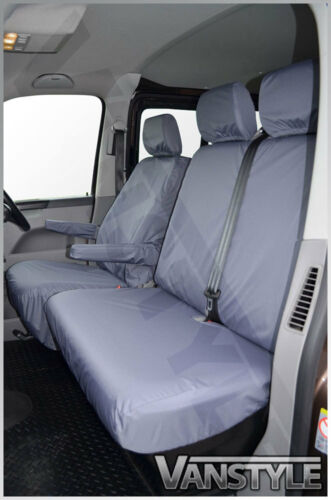 VW TRANSPORTER T5 T6 T26 T28 T30 T32 2010 GREY TAILORED FRONT 3 SEAT COVERS