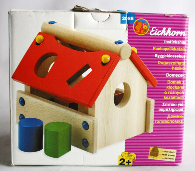 RARE Eichhorn House Shape Sorter 8 Pcs Wooden Bricks Learning Set MIB
