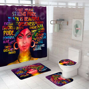 Bathroom-Rug-Set-Shower-Curtain-Non-Slip-Toilet-Lid-Cover-Bath-Mat-Pedestal-Mat