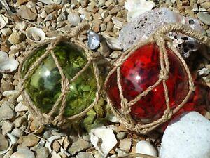 Buoys Set Of 3 Blown Glass Balls Turquoise Fishing Boat Net Floats Bathroom