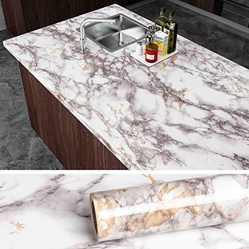 VEELIKE Grey Marble Contact Paper Counter Top Covers Peel an