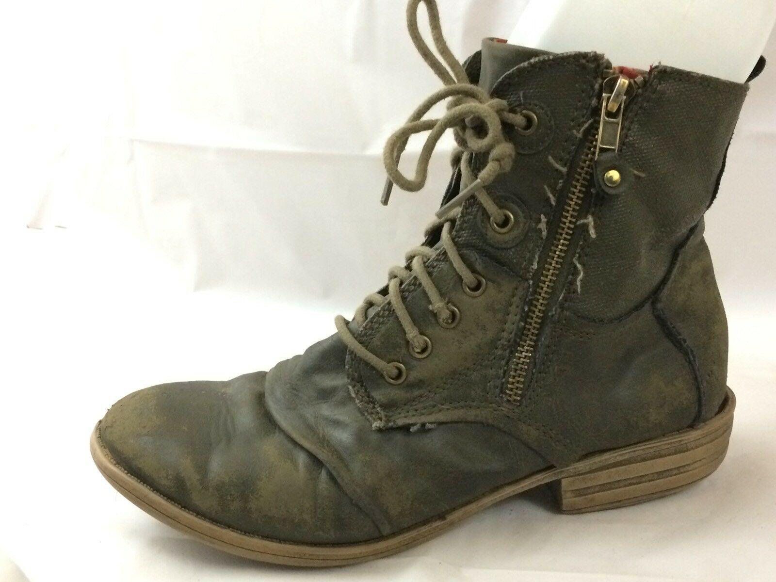 American Rag Wmns 9 M Green Destroyed Ankle Combat Boot Faux Leather Lace Up Zip