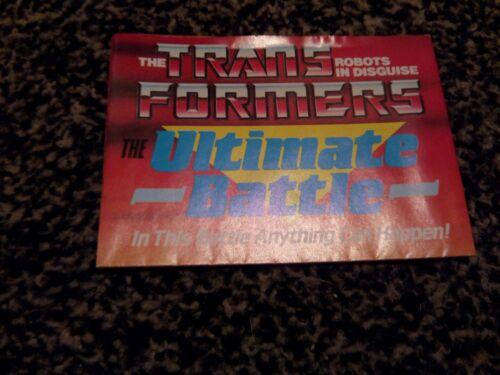 Transformateurs de l'ultime bataille dépliant G1 affiche 1986
