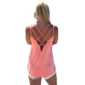 Women-039-s-Cute-Criss-Cross-Back-Tank-Tops-Loose-Hollow-out-Camisole-Shirt-3-Colors