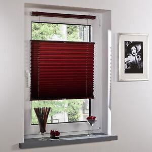 klemmfix plissee montage ohne bohren jalousie faltrollo 100 x 130 cm bordeaux ebay. Black Bedroom Furniture Sets. Home Design Ideas