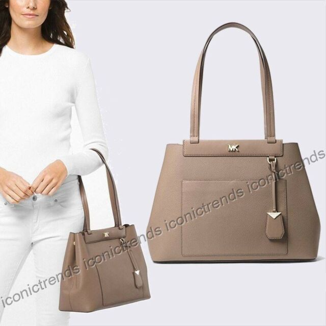 9c40f7dc6be NWT 🌻 Michael Kors Meredith EW Medium Bonded Leather Shoulder Bag Truffle  Taupe