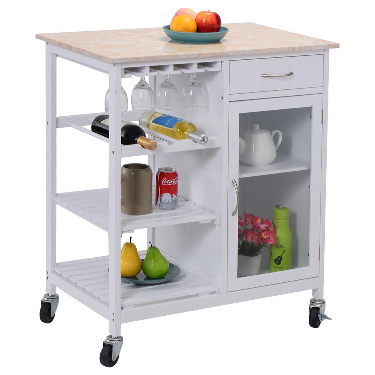 Rolling Kitchen Table Utility Cart Island Butcher Block Board Marble Rack Shelf Ebay