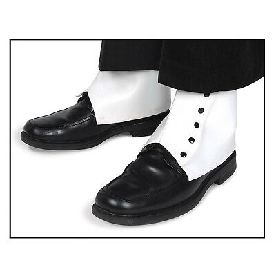 Adult size White Vinyl Spats with Black Snaps Victorian Steampunk fnt