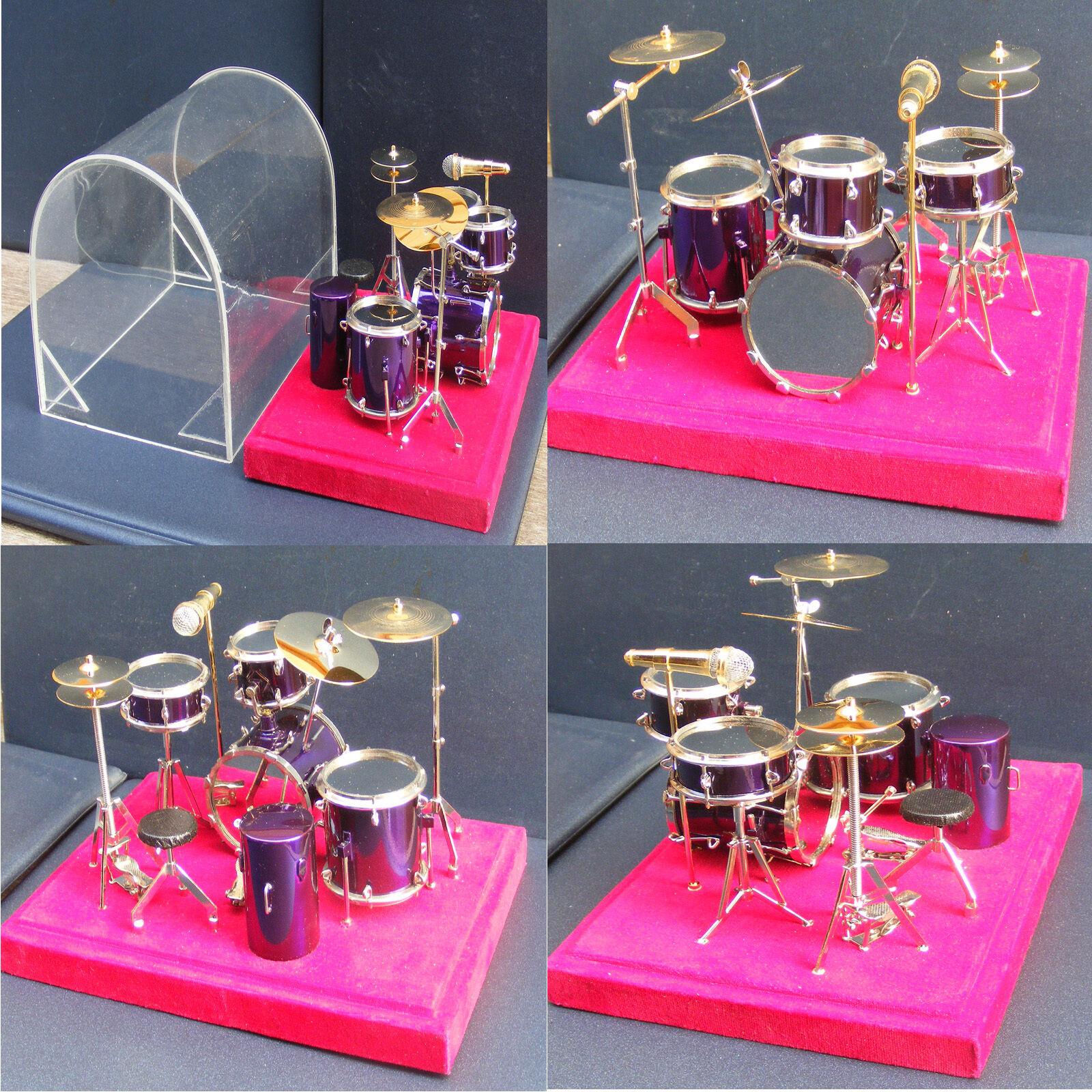 1:12 Scale lila Drum Kit & Case Tumdee Dolls House Music Instrument Accessory