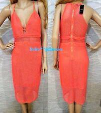 NWT bebe coral oeverlay mesh deep v neck cutout waist top dress L large 8 10