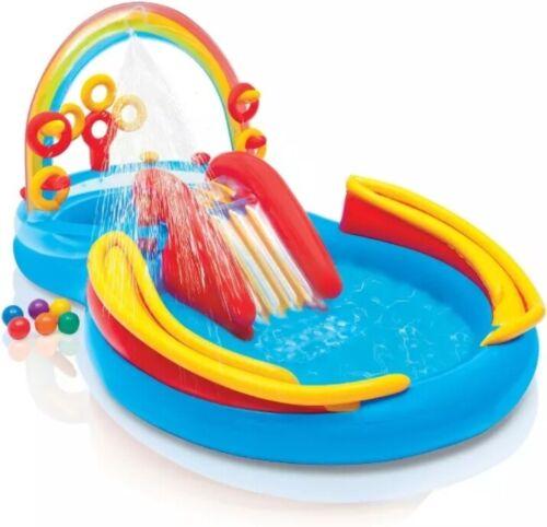 INTEX Inflatable Kid Rainbow Ring Water Play Center Rings Pool Slide Balls Child