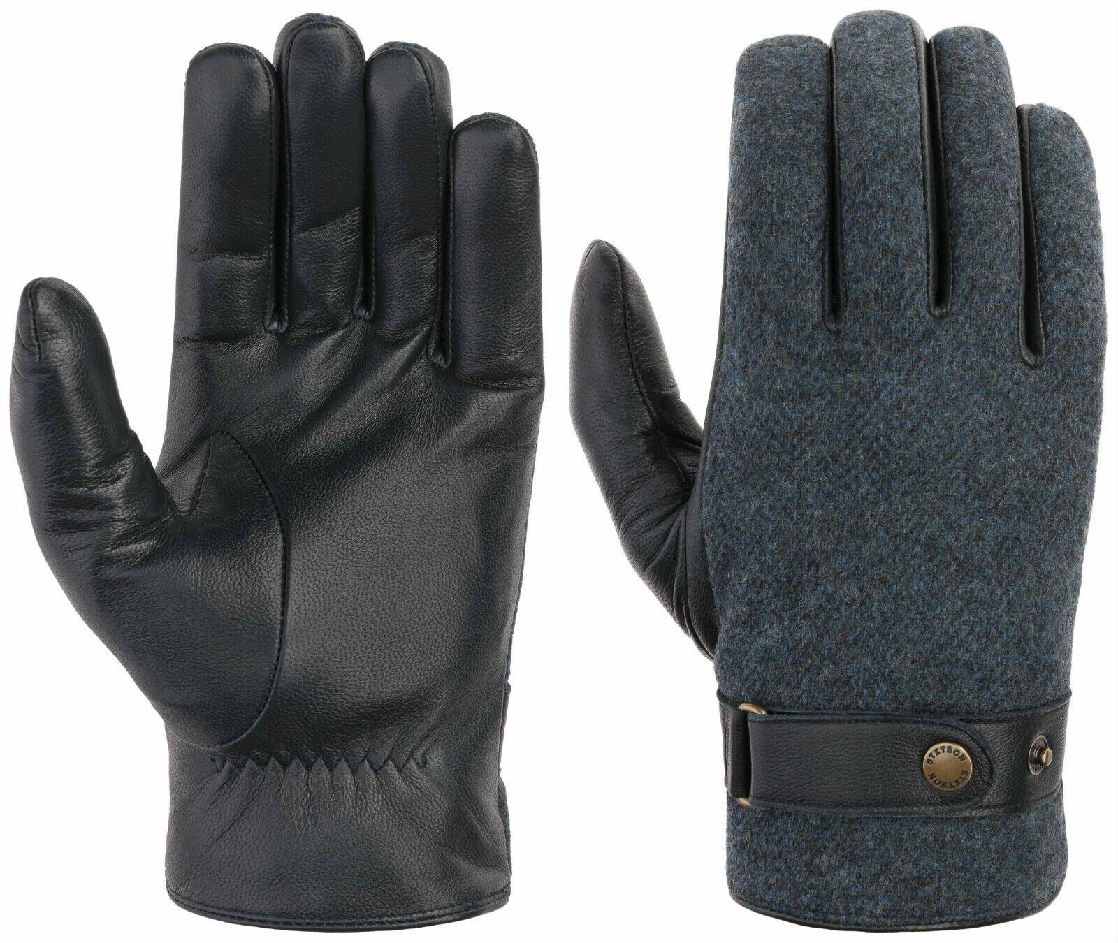 Stetson Gloves Leather Gloves Goat Nappa / Wool 2 Blue
