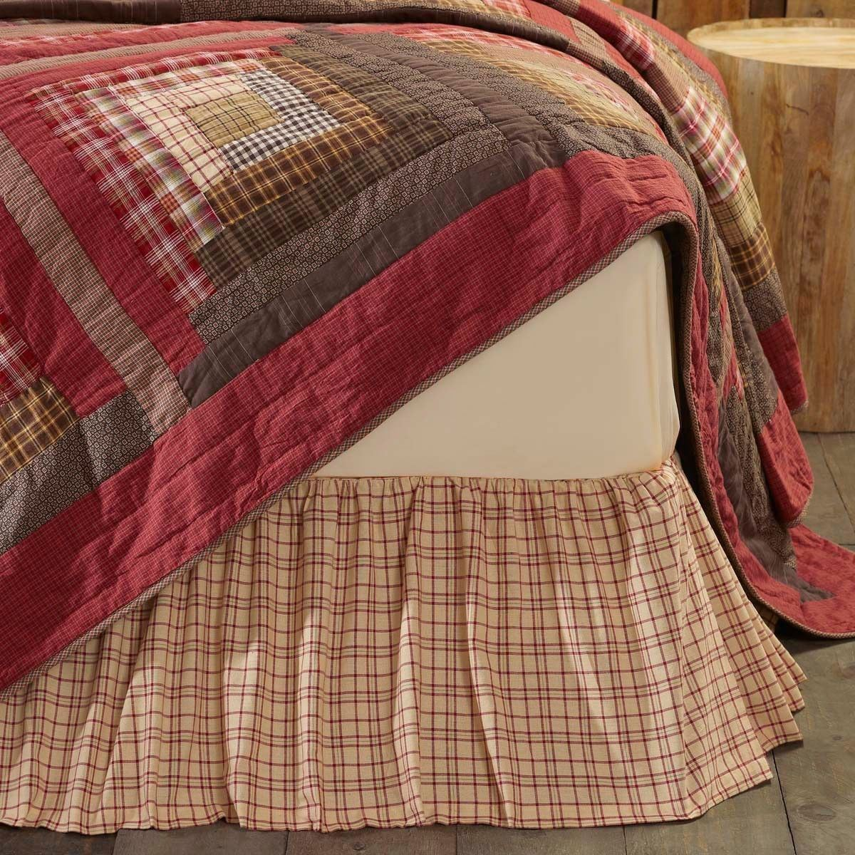 Gatherouge Bed jupe Cream rouge vert Plaid Country Bedroom Dust Ruffle Tacoma
