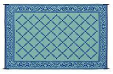6'x9' Reversible Patio Mat Outdoor Indoor Floor Carpet Deck Camping Rug RV Blue