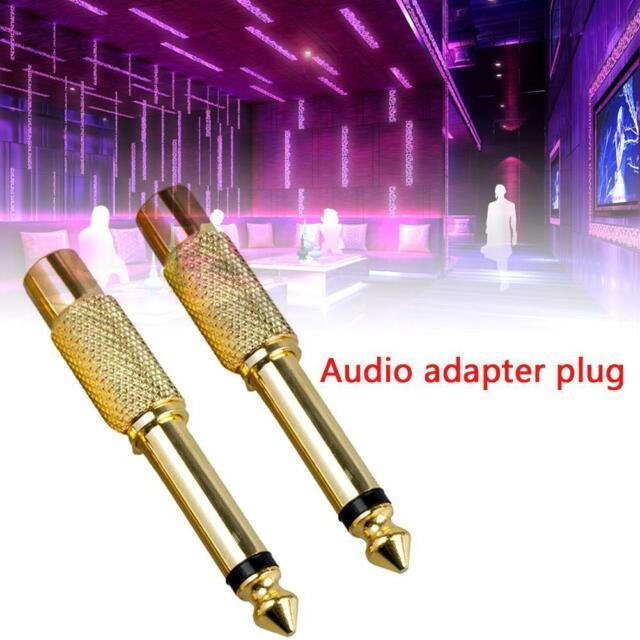 """2X 6,35 mm 1/4""""Mono-Klinkenstecker auf Cinch-Buchse-Audio-Adapterkabel-Konv G5N2"""