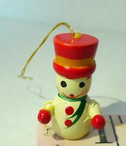 """Snowman Wooden Miniature Ornament 1 1/4"""" Vintage Decoration"""