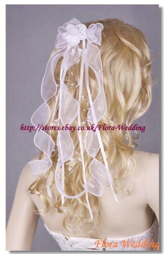 GIRL COMMUNION HEADPIECE//BRIDAL WEDDING RIBBON BOW VEIL