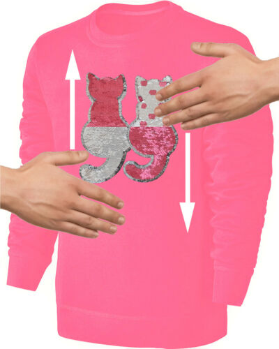 Enfants tournant Paillettes Sweat-shirt fille chats Caresse Pull Rose