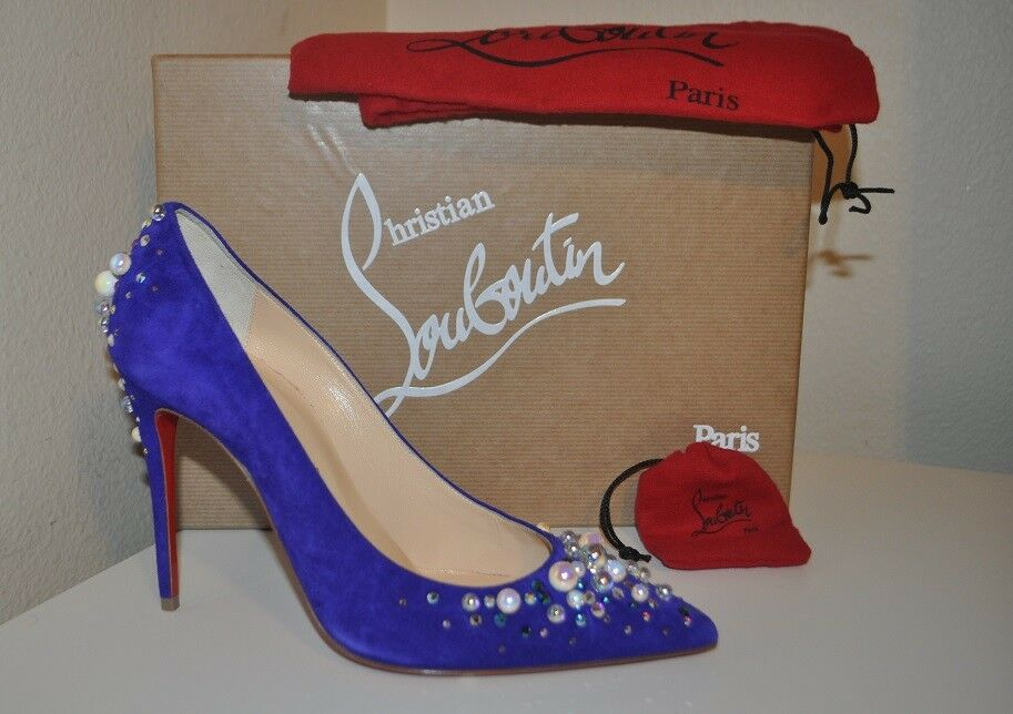 NIB Christian Louboutin 100 Candidate Embellished Pump Suede shoes shoes shoes Purple Pop 37 9a6d3d