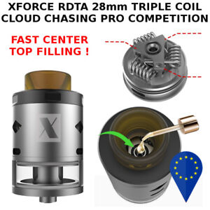 XFORCE-RDTA-28mm-4ml-TRIPLE-COIL-ULTEM-810-DRIP-TIP-PRO-CLOUD-CHASING-SILVER