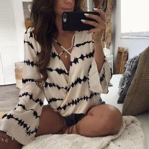 Fashion-Women-Ladies-Long-Sleeve-Loose-Blouse-Summer-V-Neck-Casual-Shirt-Tops-AU
