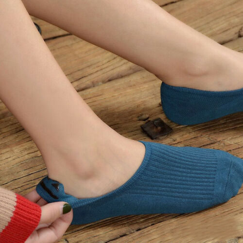 5 Pairs Women Invisible Non-slip Loafer Boat Ankle Low Cut 100/%Cotton Socks New