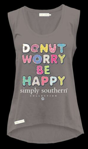 Donut Worry Be Happy Tank Top Simply Southern Tee Shirt