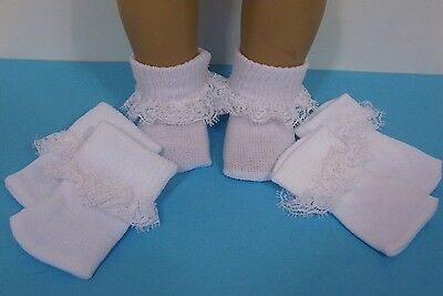 3pr WHITE Lace Socks Doll Clothes For 18 American Girl Debs