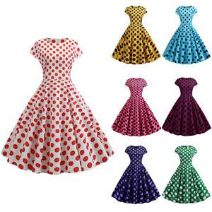 2f0409e8ebdb Image is loading Women-Vintage-1950s-Polka-Dot-Rockabilly-Evening-Party-