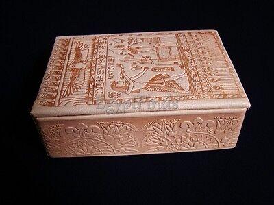 Egyptian Osiris And Horus Genuine Camel Leather Jewelry Treasure Box