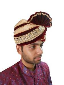 Medium Turban Men Hat Pagri Traditional Groom Safa Sherwani Pag Top ... 578c589140a
