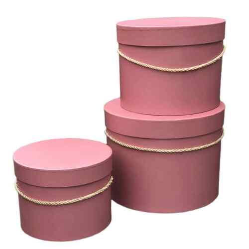 Set of 3 pcs Floral Gift Box Premium Quality Round Flower Box with Lids
